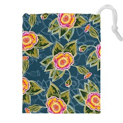 Floral Fantsy Pattern Drawstring Pouches (xxl) by DanaeStudio