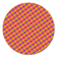 Vibrant Retro Diamond Pattern Magnet 5  (round) by DanaeStudio