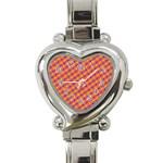 Vibrant Retro Diamond Pattern Heart Italian Charm Watch