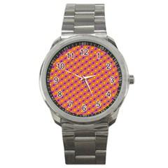 Vibrant Retro Diamond Pattern Sport Metal Watch by DanaeStudio