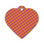 Vibrant Retro Diamond Pattern Dog Tag Heart (Two Sides)