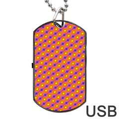 Vibrant Retro Diamond Pattern Dog Tag USB Flash (One Side) by DanaeStudio