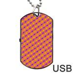 Vibrant Retro Diamond Pattern Dog Tag USB Flash (One Side)