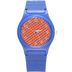 Vibrant Retro Diamond Pattern Round Plastic Sport Watch (s) by DanaeStudio