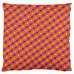 Vibrant Retro Diamond Pattern Large Cushion Case (two Sides) by DanaeStudio