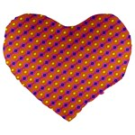 Vibrant Retro Diamond Pattern Large 19  Premium Heart Shape Cushions