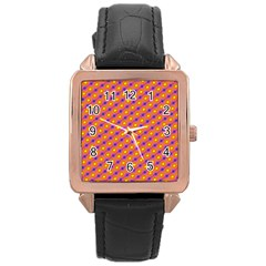 Vibrant Retro Diamond Pattern Rose Gold Leather Watch  by DanaeStudio