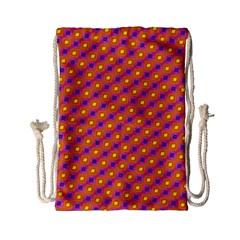 Vibrant Retro Diamond Pattern Drawstring Bag (small) by DanaeStudio