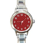 Red Passion Floral Pattern Round Italian Charm Watch