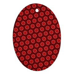 Red Passion Floral Pattern Ornament (oval)  by DanaeStudio