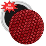 Red Passion Floral Pattern 3  Magnets (10 pack)
