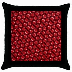 Red Passion Floral Pattern Throw Pillow Case (black) by DanaeStudio
