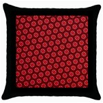 Red Passion Floral Pattern Throw Pillow Case (Black)