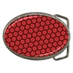 Red Passion Floral Pattern Belt Buckles