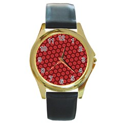 Red Passion Floral Pattern Round Gold Metal Watch by DanaeStudio