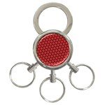 Red Passion Floral Pattern 3-Ring Key Chains