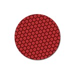 Red Passion Floral Pattern Magnet 3  (Round)