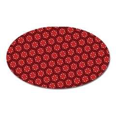Red Passion Floral Pattern Oval Magnet by DanaeStudio