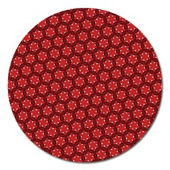 Red Passion Floral Pattern Magnet 5  (round) by DanaeStudio
