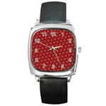 Red Passion Floral Pattern Square Metal Watch