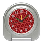 Red Passion Floral Pattern Travel Alarm Clocks
