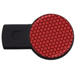 Red Passion Floral Pattern USB Flash Drive Round (4 GB)