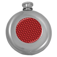Red Passion Floral Pattern Round Hip Flask (5 Oz) by DanaeStudio