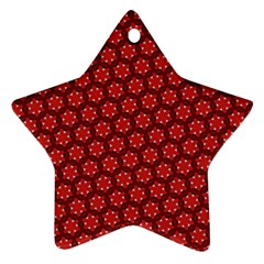 Red Passion Floral Pattern Star Ornament (two Sides)  by DanaeStudio