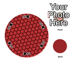 Red Passion Floral Pattern Playing Cards 54 (round)  by DanaeStudio