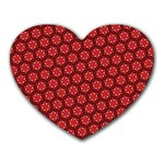 Red Passion Floral Pattern Heart Mousepads