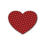Red Passion Floral Pattern Heart Coaster (4 pack)