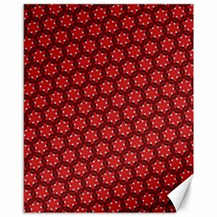 Red Passion Floral Pattern Canvas 11  X 14   by DanaeStudio