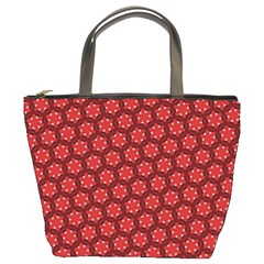 Red Passion Floral Pattern Bucket Bags by DanaeStudio