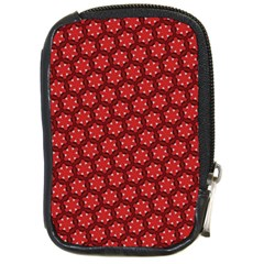 Red Passion Floral Pattern Compact Camera Cases by DanaeStudio