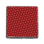 Red Passion Floral Pattern Memory Card Reader (Square)
