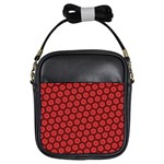 Red Passion Floral Pattern Girls Sling Bags