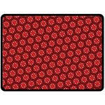 Red Passion Floral Pattern Fleece Blanket (Large)