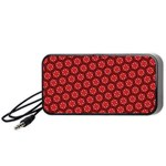 Red Passion Floral Pattern Portable Speaker (Black)