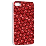 Red Passion Floral Pattern Apple iPhone 4/4s Seamless Case (White)