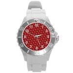 Red Passion Floral Pattern Round Plastic Sport Watch (L)