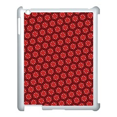Red Passion Floral Pattern Apple Ipad 3/4 Case (white) by DanaeStudio