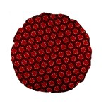 Red Passion Floral Pattern Standard 15  Premium Round Cushions