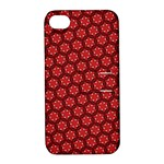 Red Passion Floral Pattern Apple iPhone 4/4S Hardshell Case with Stand