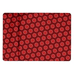 Red Passion Floral Pattern Samsung Galaxy Tab 10 1  P7500 Flip Case by DanaeStudio