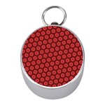 Red Passion Floral Pattern Mini Silver Compasses