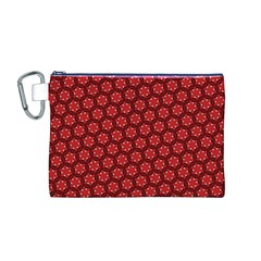 Red Passion Floral Pattern Canvas Cosmetic Bag (m) by DanaeStudio