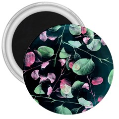 Modern Green And Pink Leaves 3  Magnets by DanaeStudio