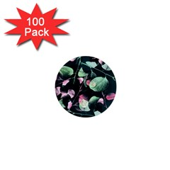 Modern Green And Pink Leaves 1  Mini Buttons (100 Pack)  by DanaeStudio