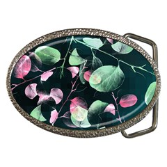 Modern Green And Pink Leaves Belt Buckles by DanaeStudio