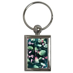 Modern Green And Pink Leaves Key Chains (rectangle)  by DanaeStudio